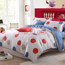 博洋家纺 全棉四件套 床品套件 高支全棉印花床单四件套-泡沫(蓝)  双人套件 1.8m