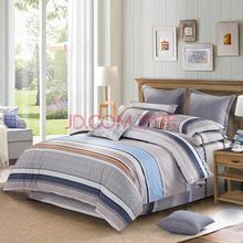 水星家纺(MERCURY)全棉斜纹印花四件套简约条纹床品 赛拉加大双人1.8米床