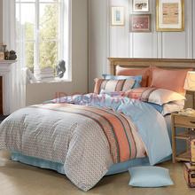水星家纺 全棉斜纹印花床上四件套 莫尔顿 床品套件床单被罩 1.8米床