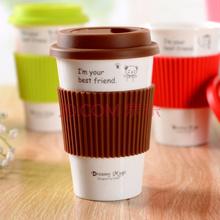 剑林 创意陶瓷情侣咖啡马克杯带盖随手水杯子 棕色小熊
