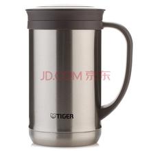 虎牌Tiger保温杯 办公杯不锈钢水杯子 真空咖啡杯双层保温茶杯(带滤网)CWM-A050-XC不锈钢500ml
