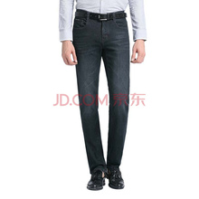 皮尔卡丹(pierre cardin) 牛仔裤男秋冬款 203361 莱卡弹力舒适休闲直筒牛仔裤 黑色35码