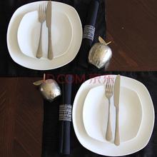 迪奥百合 骨瓷经典款西餐套盘方盘双人餐 8件套
