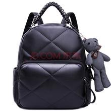 优哈howru新款包包休闲双肩包日韩版时尚女包菱格小熊挂件女士背包6EJ00002黑色
