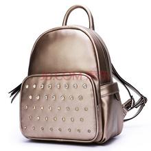 稻草人(MEXICAN)女士镶钻双肩背包 学院风手提单肩双肩多用包 潮流甜美大容量旅行背包 MMD70346L-05金色