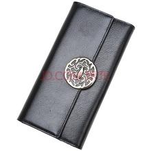 红谷HONGU女士钱包牛皮长款图腾多卡位钱夹手拿包 H10290908漆黑