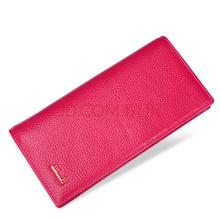 都宝路dubaolu女士钱包 女长款韩版时尚女士牛皮手拿钱包2折钱夹 玫红色