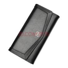 红谷HONGU女士钱包牛皮长款钱包女多卡位钱夹钱包 H10373608漆黑