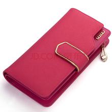 AIM 女士钱包 牛皮钱包女欧美潮流甜美淑女钱夹卡包大容量女士手拿包 N101 玫红色