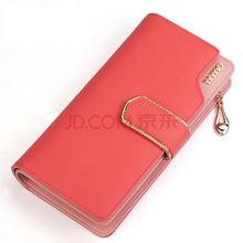 AIM 女士钱包 牛皮钱包女欧美潮流甜美淑女钱夹卡包大容量女士手拿包  N101  粉红色