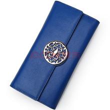 红谷HONGU女士钱包牛皮长款图腾多卡位钱夹手拿包 H10291208宝蓝