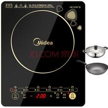 美的(Midea)电磁炉整板触控黑晶面板八档火力 C21-WK2102(赠汤锅+炒锅)