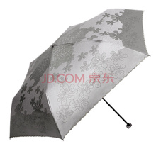 天堂伞 碳纤超轻超强防晒偶遇莱雅黑涤彩胶三折晴雨伞 绿灰 33094E