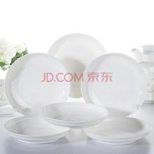 洁雅杰盘子 陶瓷汤盘(8英寸)纯白深盘 6只装
