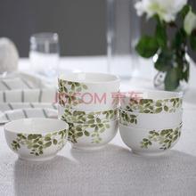万毅米饭碗 陶瓷碗套装(4.5英寸)家用餐具绿意盎然韩碗(8只装)