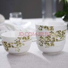万毅米饭碗 陶瓷碗套装(5英寸)绿意盎然护边碗(6只装)