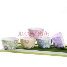 亿嘉IJARL 创意家用陶瓷器4.5英寸饭碗套装5只装 朵朵花