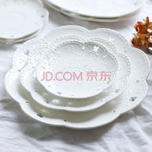瓷工巧匠 陶瓷餐具创意花朵圆盘三件套 欧式纯白浮雕大中小各一精选