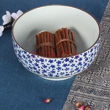 山田烧汤碗 陶瓷碗大面碗(7英寸)釉下彩日式汤碗(1只装) 雪花