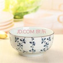 山田烧汤碗 陶瓷碗(7英寸)釉下彩日式面碗大汤碗(1只装) 梅花