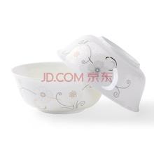 瓷魂 景德镇陶瓷6英寸韩式泡面碗大汤碗微波炉专用碗4件套装 花语冬樱