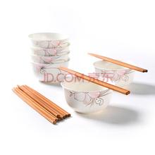 瓷魂 景德镇陶瓷餐具4.5英寸韩式饭碗米饭碗12件碗筷套装 秋芙12件套