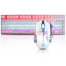赛德斯(Sades)烽影闪翼套装 机械键盘键鼠套装 白色混光 青轴