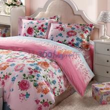 LOVO 罗莱公司出品 全棉斜纹印花双人加大1.8米床四件套花漫弥香