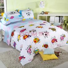 多喜爱家纺 lili牛卡通纯棉双人床单四件套1.8米床
