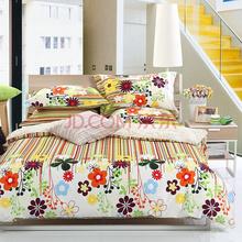 多喜爱家纺 花雨田园纯棉双人床单四件套1.8米床