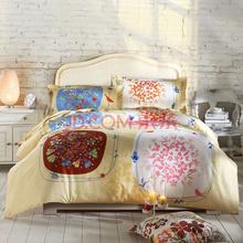 LOVO罗莱公司出品 全棉缎纹印花双人加大1.8米床四件套 梅丽尔