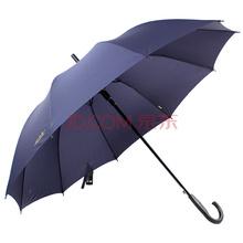天堂伞 纯色加大加固强力拒水一甩干黑杆钢骨自开直杆商务晴雨伞 深藏青 193E