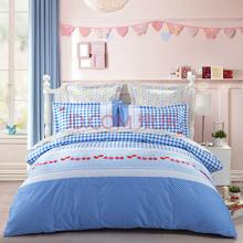 LOVO 罗莱公司出品四件套 全棉斜纹印花双人1.5米床 樱桃格子(蓝色)