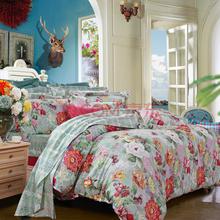 富安娜(FUANNA)家纺床品套件 纯棉斜纹活性印花床单四件套 含露绽芳双人1.8米床红