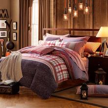 安睡宝(somerelle)床品套件 进口全棉磨毛印花四件套双人 德卢斯1.5米床200*230cm