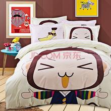 胜伟 床品家纺 活性全棉时尚大版花床单被套四件套1.5米/1.8米床 被套200*230cm 笨娜猴