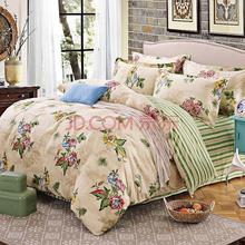 胜伟 床品家纺 纯棉套件 高支棉全棉双人斜纹被套床单四件套1.5米床/1.8米床 花馨语