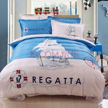 胜伟 床品家纺 活性全棉时尚大版花床单被套四件套1.5米/1.8米床 被套200*230cm 扬帆起航