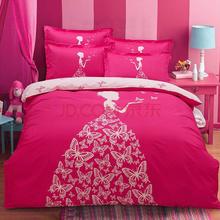 胜伟 床品家纺 纯棉套件大版花床单被套四件套1.5米/1.8米床 被套200*230cm 蝴蝶梦