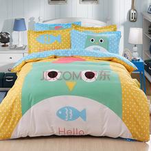 胜伟 床品家纺 纯棉套件时尚大版花床单被套四件套1.5米/1.8米床 被套200*230cm 恋上鱼
