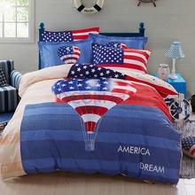 胜伟 床品家纺 活性全棉时尚大版花床单被套四件套1.5米/1.8米床 被套200*230cm 美国梦