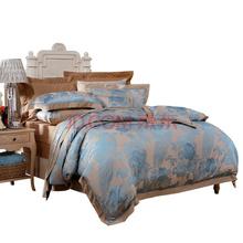 富安娜(FUANNA)艺术家纺床单四件套 涤粘提花床品套件 南屏雀舞双人1.5米床适用绿色