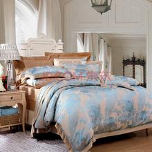 富安娜(FUANNA)艺术家纺床单四件套 涤粘提花床品套件 南屏雀舞双人1.8米床适用绿色