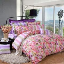 富安娜(FUANNA)家纺床品套件 纯棉斜纹活性印花床单四件套 晴上初妆双人1.8米床红