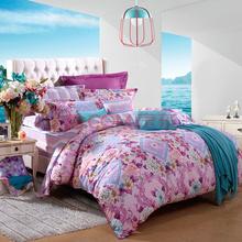 富安娜(FUANNA)家纺磨毛床单四件套温暖纯棉楼亭藏秀双人加大1.8米床紫