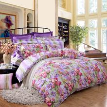富安娜(FUANNA)家纺床品套件 纯棉斜纹活性印花床单四件套 晴上初妆双人1.5米床紫