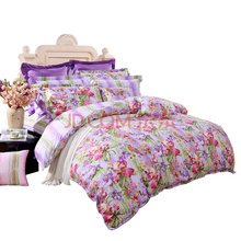 富安娜(FUANNA)家纺床品套件 纯棉斜纹活性印花床单四件套 晴上初妆双人1.8米床紫