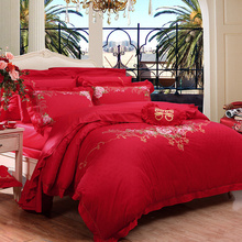 富安娜家纺婚庆六件套 纯棉小提花婚庆双人1.5米床(标准) 永恒爱恋 红色