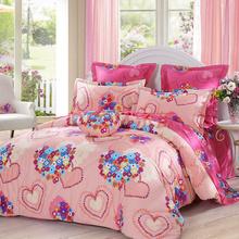LOVO家纺罗莱出品 纯棉四件套 全棉床品套件床上用品床单被套 心心相印 220*240