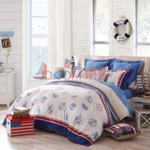 LOVO 罗莱公司出品 美式全棉缎纹双人加大1.8米床四件套海云端